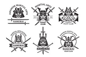 Martial asian labels. Samurai