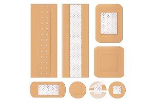 Medical bandage. Plastering shapes