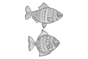 Fish coloring pages. Fashion drawing