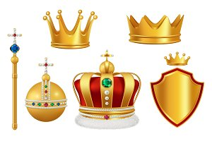Golden royal symbols. Crown with