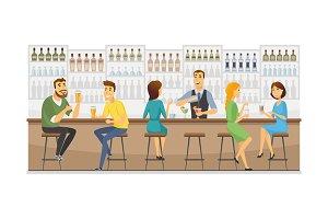 Bartender at work - illustration