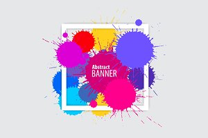 Abstract banner with multicolored