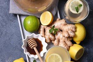 Ginger tea with honey and lemons