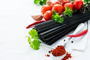 Uncooked black pasta