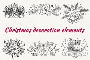 Christmas decoration elements set