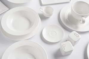 high angle view of different plates,