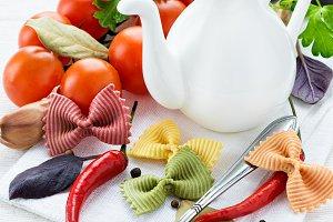 Uncooked multicolored pasta