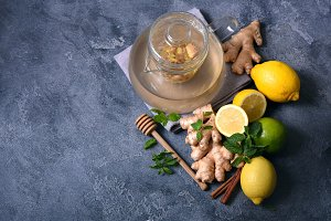 Warming ginger tea, healthy drink