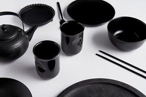 selective focus of black teapot, pla