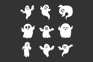 Set of vector cute Halloween ghosts