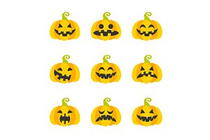 Collection of vector pumpkin heads