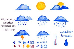 Watercolor vector set of weather