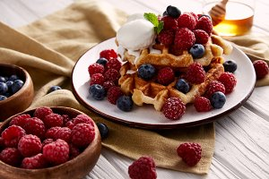 fresh belgian waffles with berries a