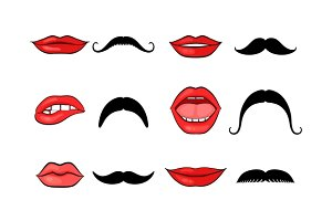 Lady lips and gentleman mustaches