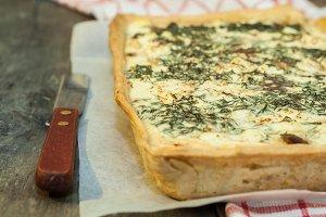 Tart, flan, cream, mushrooms, cheese
