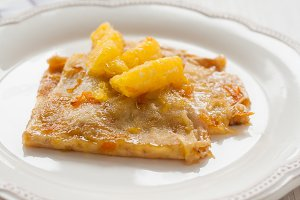 French crepes suzette crepe on a lig