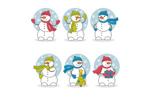 Set of vector colorful cute snowmen