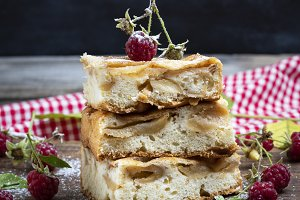 baked square pieces of apple pie