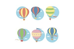 Retro vintage hot air balloons
