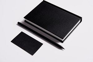 isometric view of black notebook wit