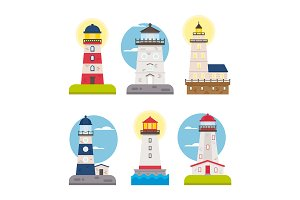 Set of vector flat lighthouses