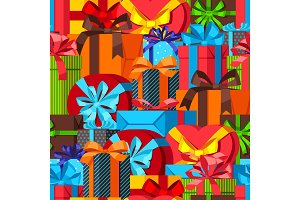 Seamless pattern with gift boxes.