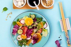 Close up organic vegetarian salad