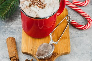 Christmas with hot chocolate, spices