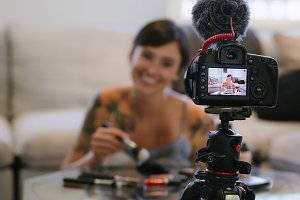 Woman making a video blog