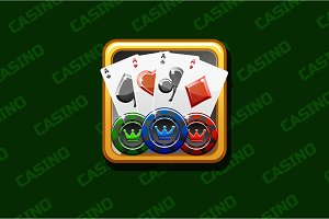 Casino icon on green background, For