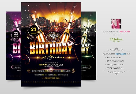 birthday party flyer poster flyer templates on creative market. Black Bedroom Furniture Sets. Home Design Ideas