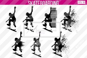 Silhouette of a skateboarder. Set