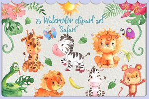 African safari animals clip art kit