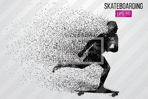 Silhouette of a skateboarder.