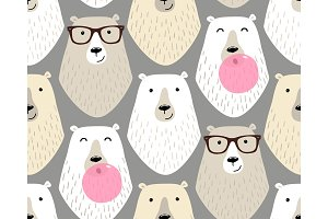 Cute childish seamless pattern with