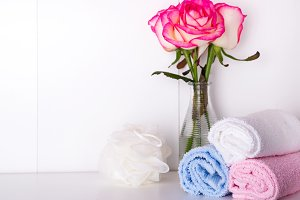 Spa bath cosmetic and flower rose