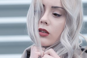 Cold portrait of young blonde