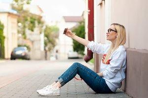 Girl making selfie