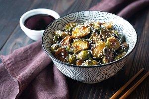 Bowl of roasted teriyaki brussels