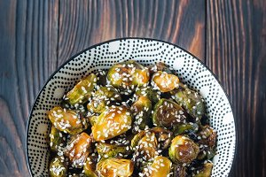 Bowl of roasted teriyaki brussels
