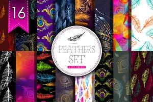 16 Feathers set.