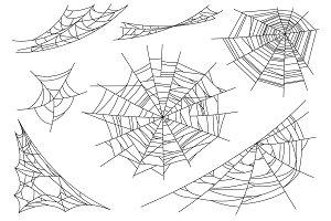 Web spider cobweb icons set. Outline