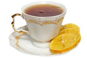 Teacup with tea and lemon