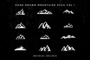 12 Hand Drawn Mountains Pack Vol.1