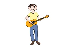 man (boy) plays the guitar. Vector