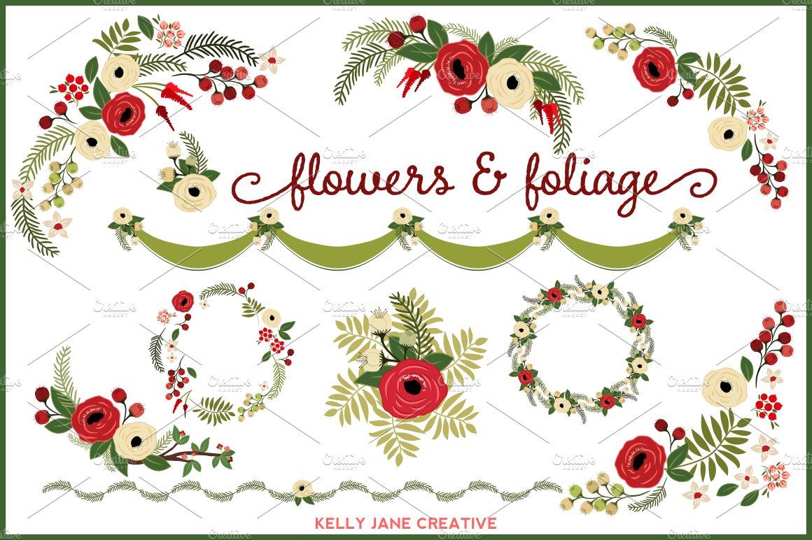 Christmas Flowers & Wreaths - vector ~ Illustrations ...