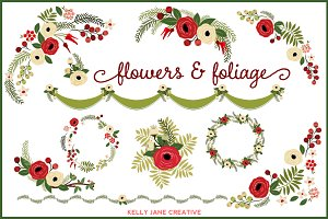 Christmas Flowers & Wreaths - vector