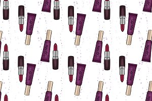 Hand drawn lipstick and lop gloss