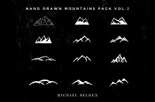 12 Hand Drawn Mountains Pack Vol.2