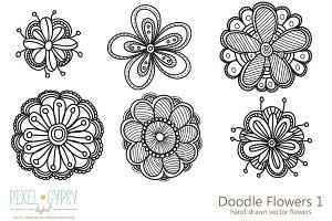 Doodle Flowers 1 Vector